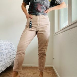 TopShop // Pink High Rise Straight Leg Denim Jean